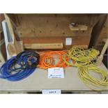 LOT assorted air hoses & electrical extensions