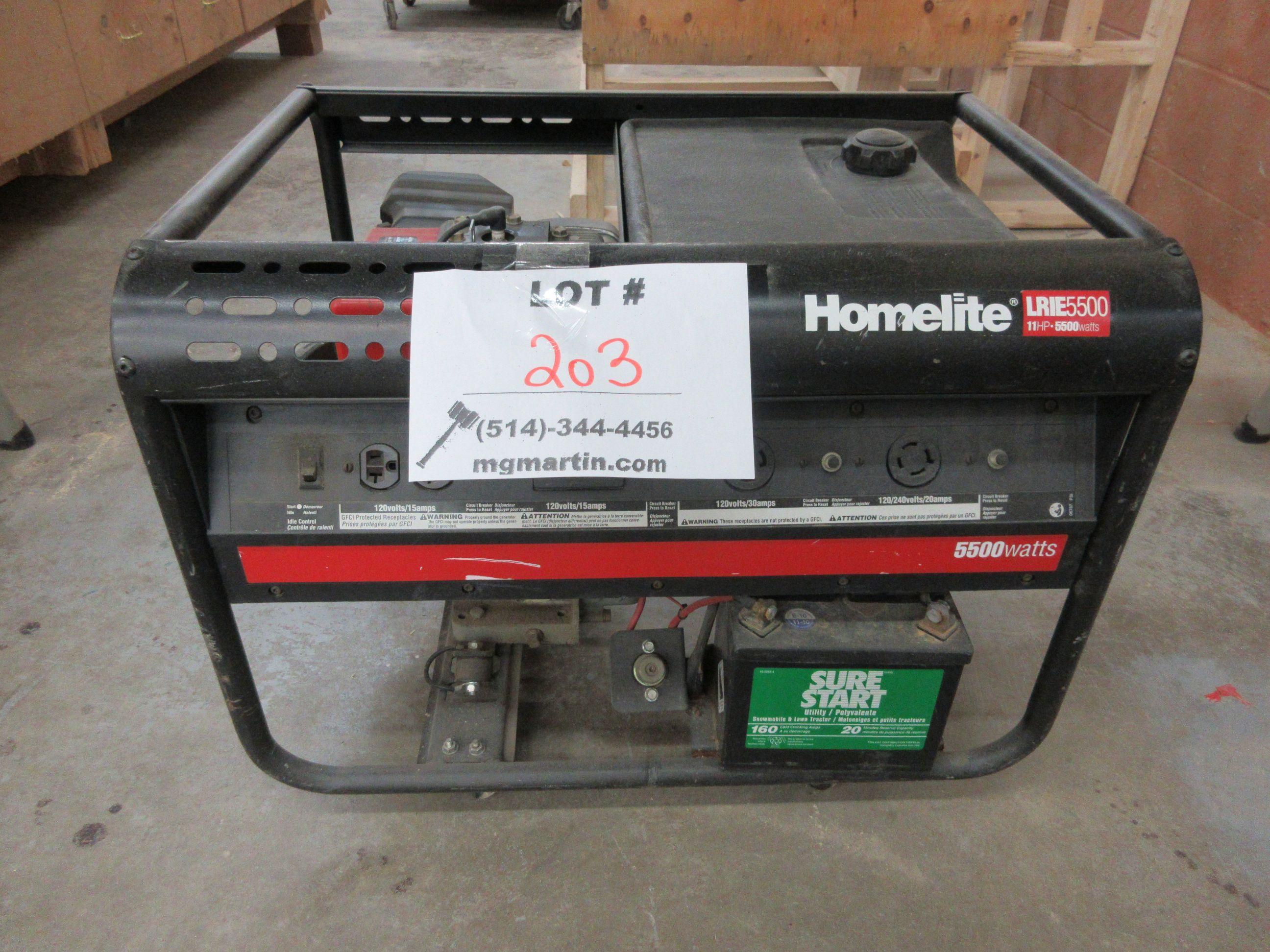HOMELITE LRIE 5500 generator, 11 HP, 5500 watts