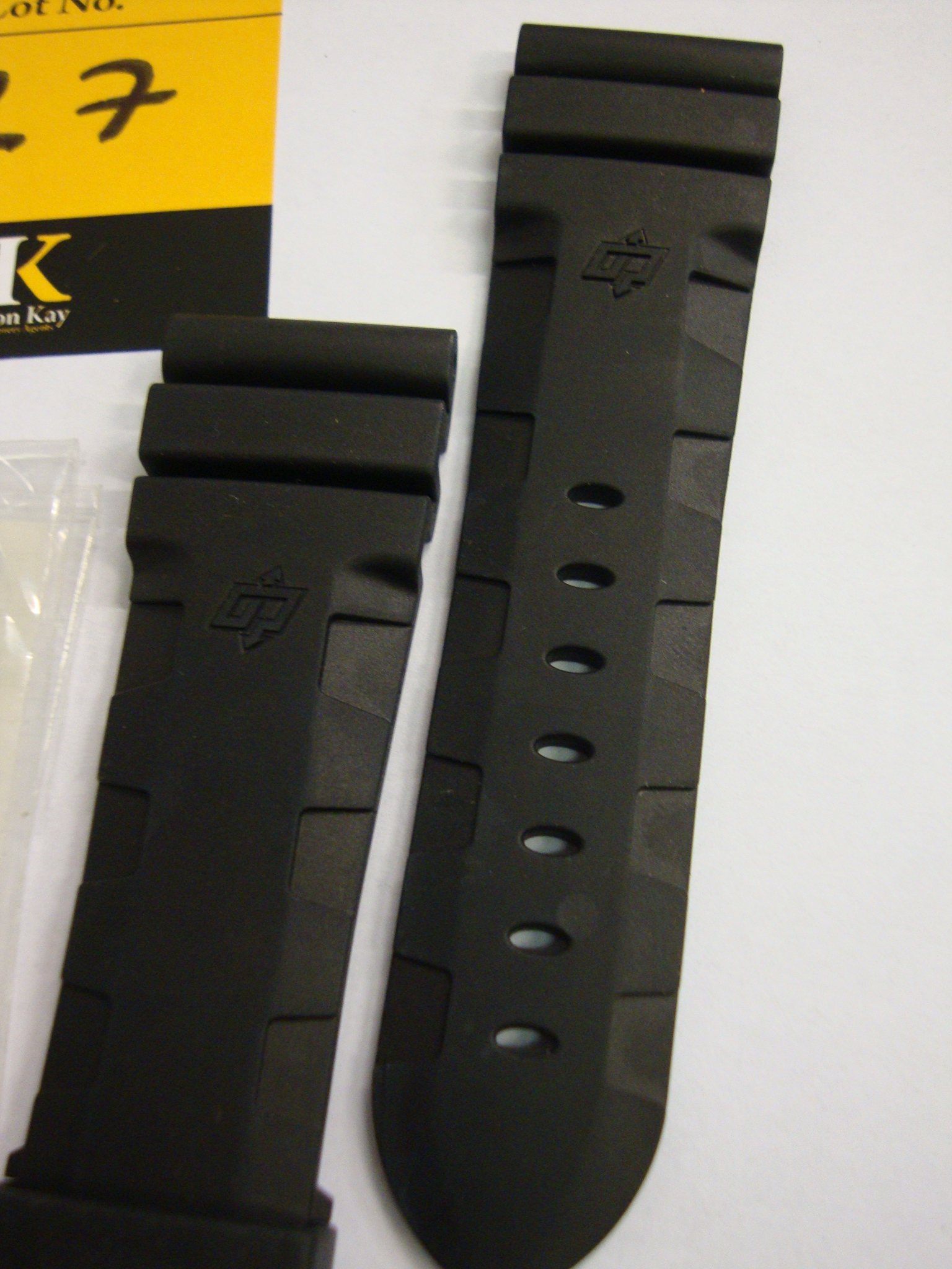 Lot 27 - Panerai OEM black rubber strap size 26/22 BA 116/95, code MX003QR0 with original packet and label.