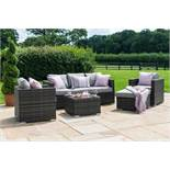 **RESERVE MET** Rattan Georgia 3 Seat Outdoor Sofa Set With Ice Bucket Feature (Grey) *BRAND NEW*