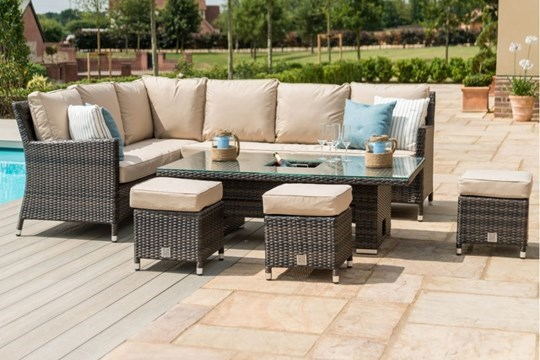 Lot 25 - Rattan Venice Corner Outdoor Dining Set With Ice Bucket And Rising Table (Brown) *BRAND NEW*