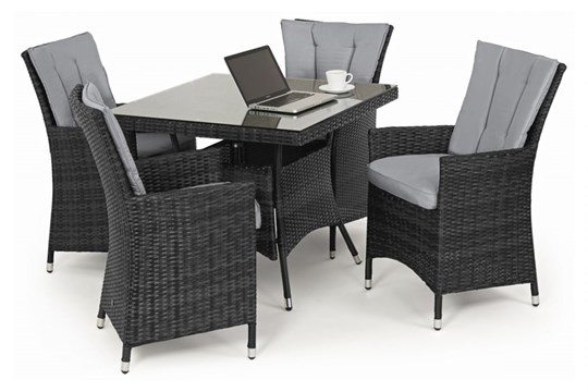 Lot 35 - Rattan LA 4 Seat Square Outdoor Dining Set With Parasol (Grey) *BRAND NEW*