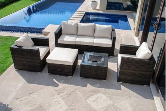 Lot 26 - *** RESERVE MET*** Rattan Georgia 3 Seat Sofa Set With Ice Bucket (Brown) *BRAND NEW*