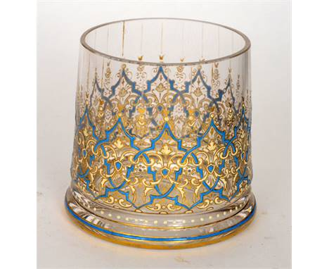 A late 19th Century Lobmeyr vase of footed cylindrical form hand enamelled and gilded in the Persian taste with over lapping