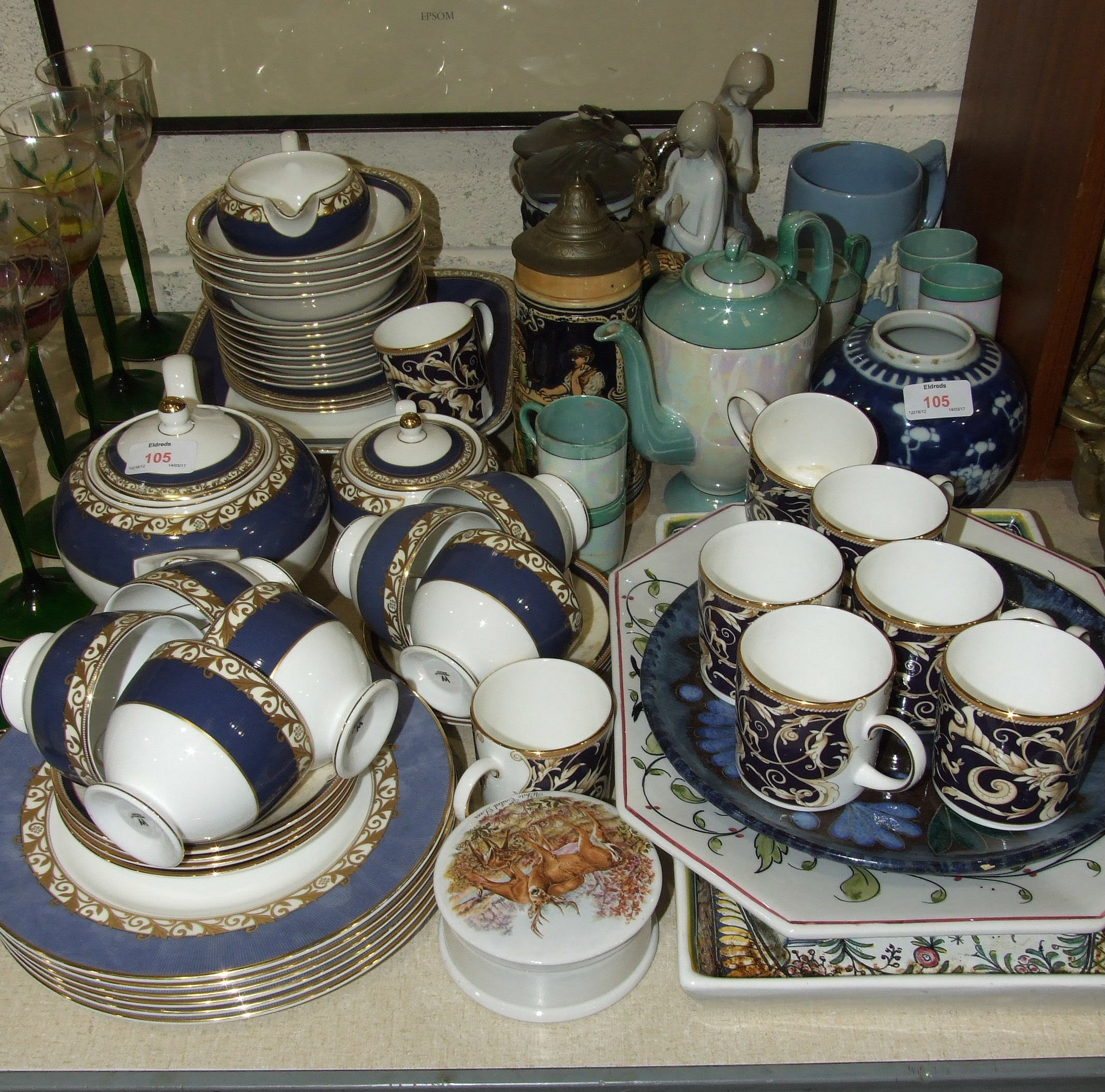 """Lot 105 - Thirty-eight pieces of Wedgwood """"Rococo"""" decorated tea ware and other ceramics."""