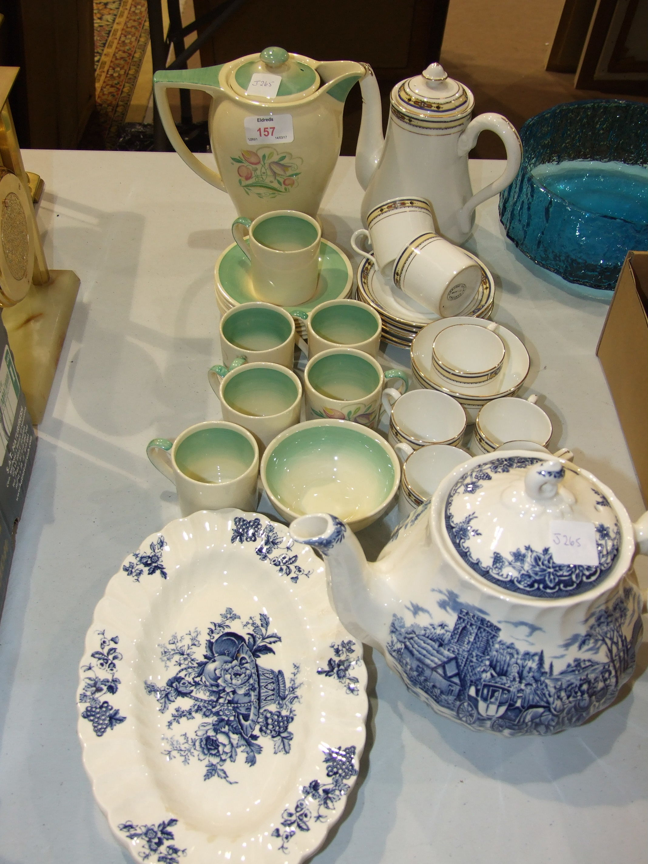 Lot 157 - A fourteen-piece Susie Cooper Dresden Spray pattern coffee service, other tea ware and ceramics.