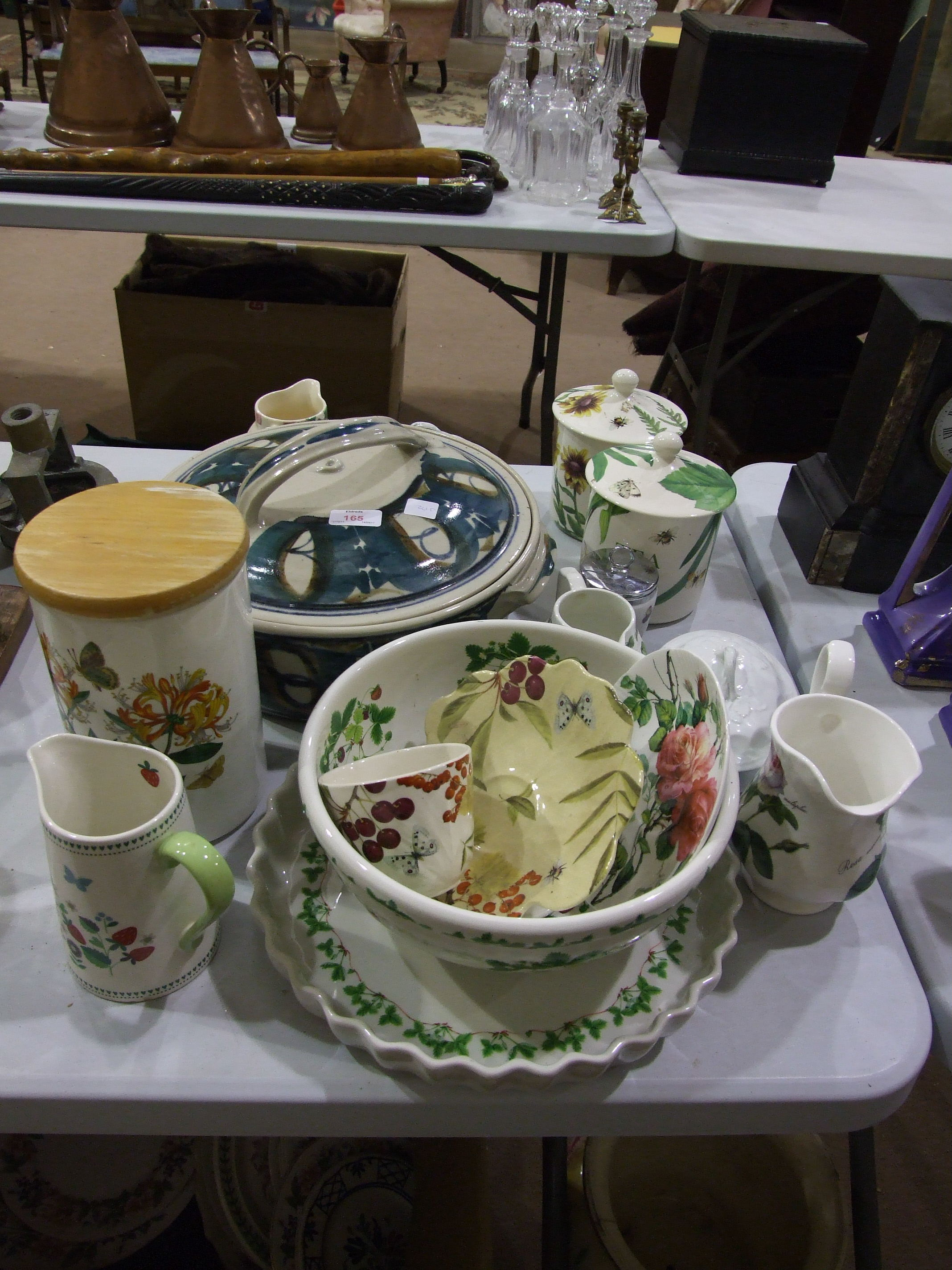 Lot 165 - Two Spode Floral Heaven tea and sugar storage jars with covers, 17cm high and other ceramics