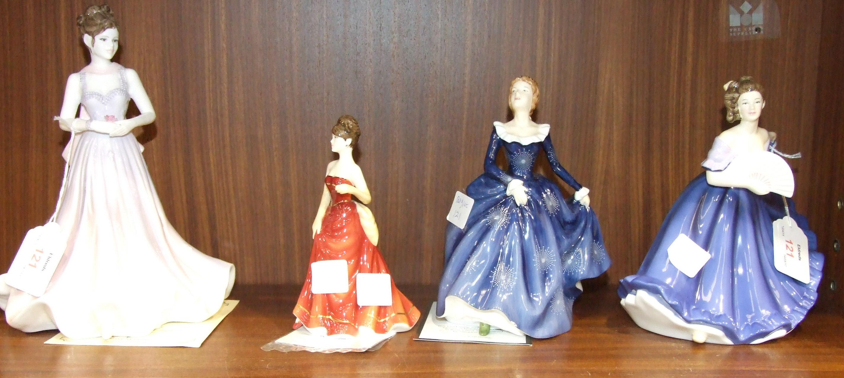 Lot 121 - Three Royal Doulton figurines: Fragrance 17cm, Elaine, True Romance and a Coalport figure, Precious,