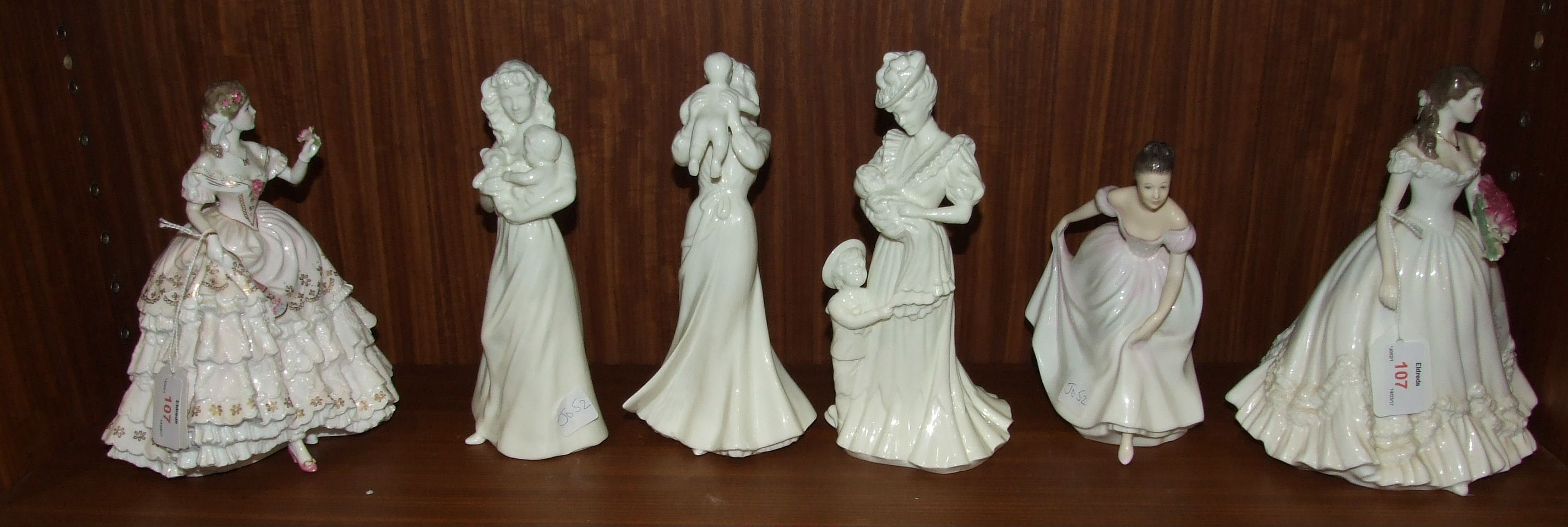 Lot 107 - Five Royal Worcester figurines, First Teddy, First Smile, The Christening, The Fairest Rose,