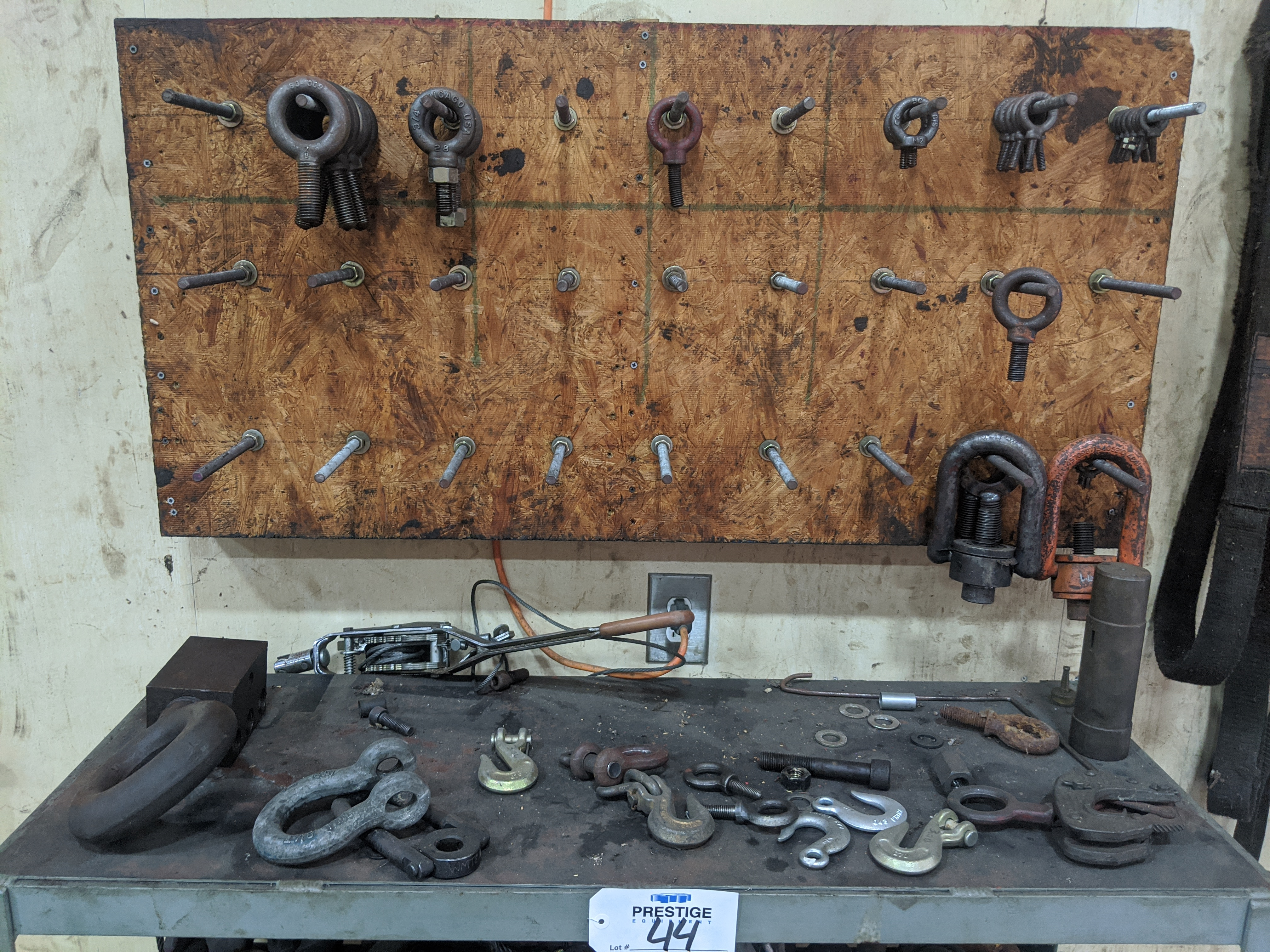 Lot 44 - 3-Tier Steel Shelving Unit with Contents of Assorted I-Bolts & Lifting Shackles