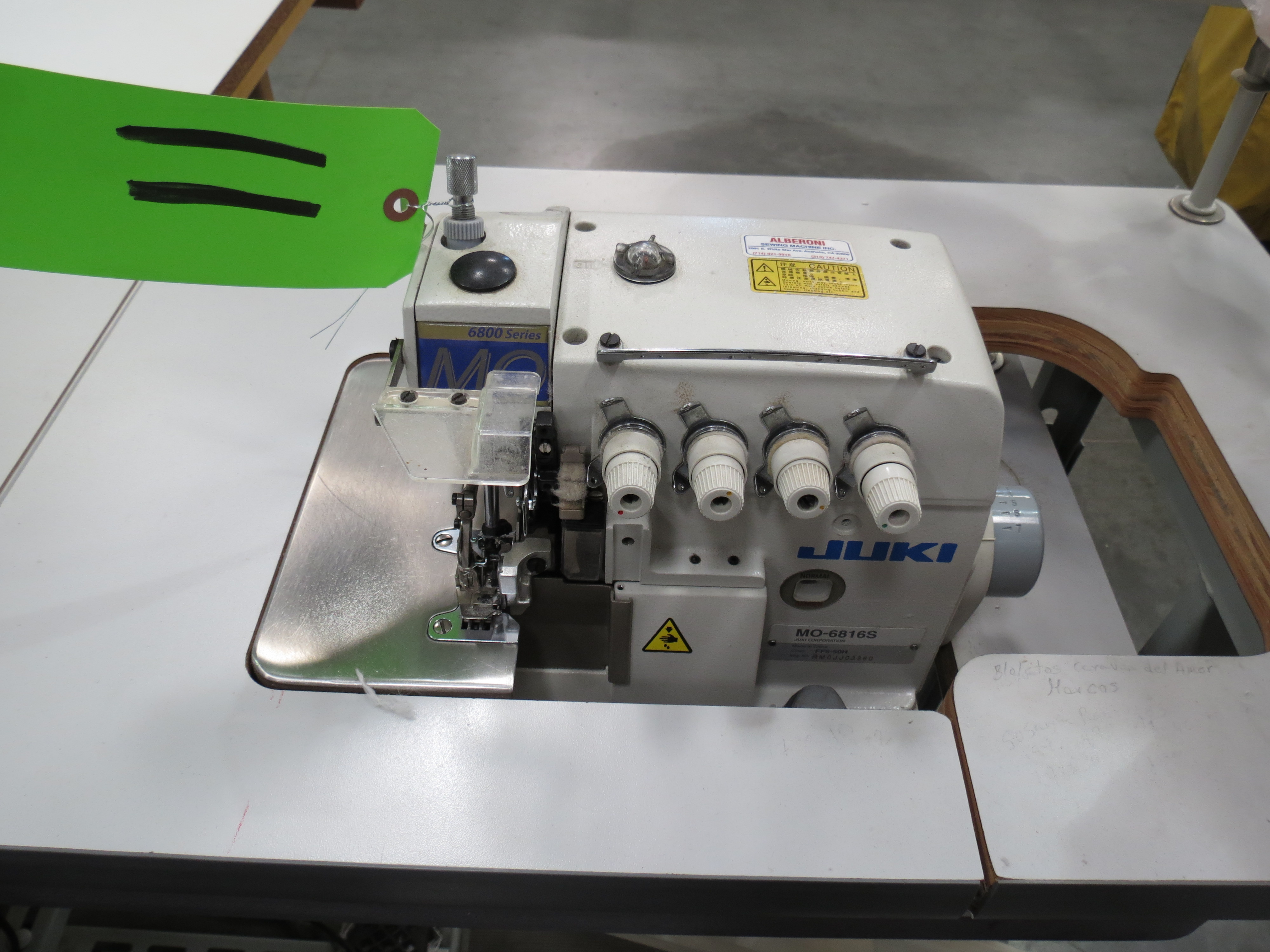 Juki MO-6816SOverlock Sewing Machine, 110V, SN:RM0JJ03880 with Table - Image 3 of 3