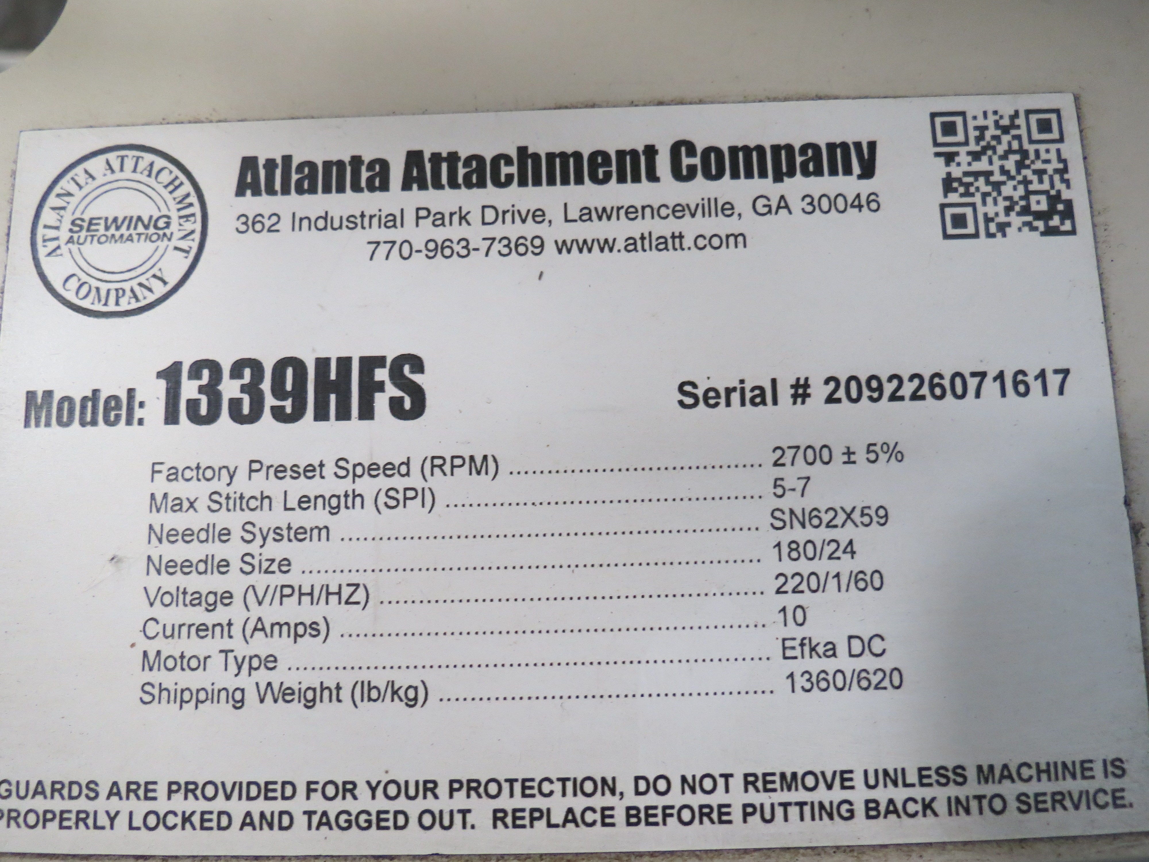 Atlanta Attachment Company 1339HFSHalf-Cap Sewing Machine, SN:209226071617, 220V, AAC 300UX6, ( - Image 5 of 5
