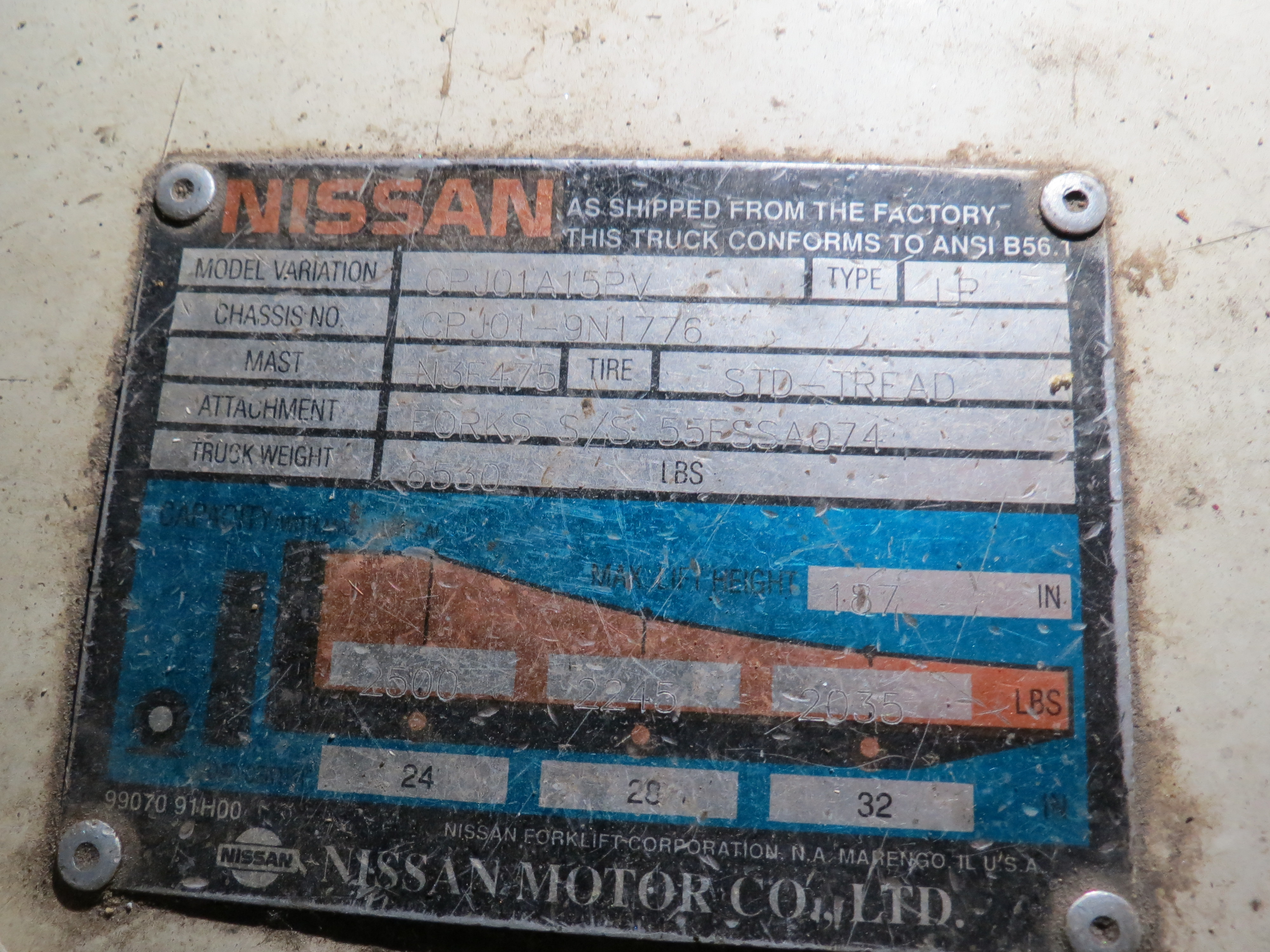 Nissan Model CPJ01A15PV 3-Stage 2500K Capacity LPG Forklift with Side Shift - Image 6 of 6