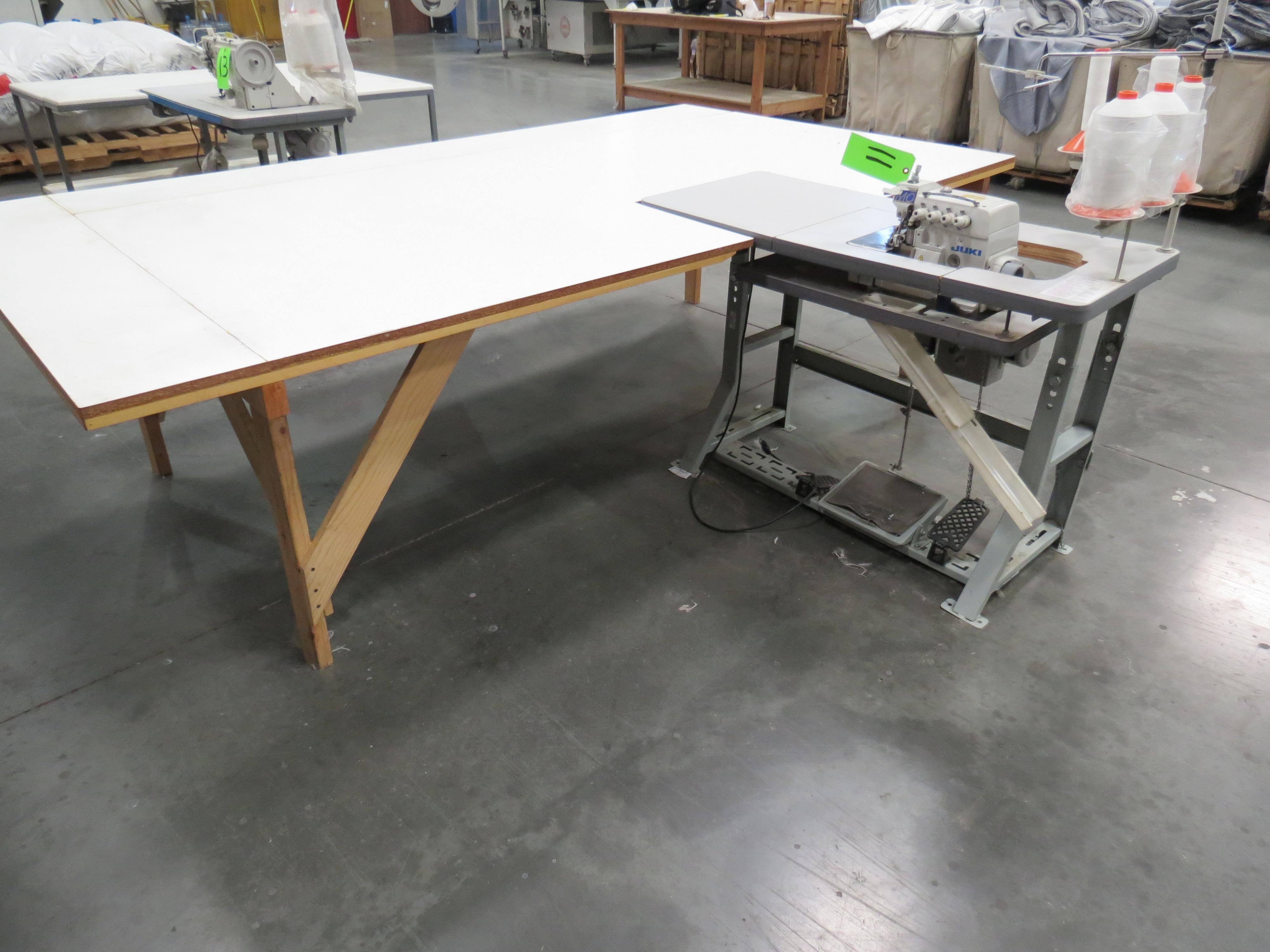 Juki MO-6816SOverlock Sewing Machine, 110V, SN:RM0JJ03880 with Table