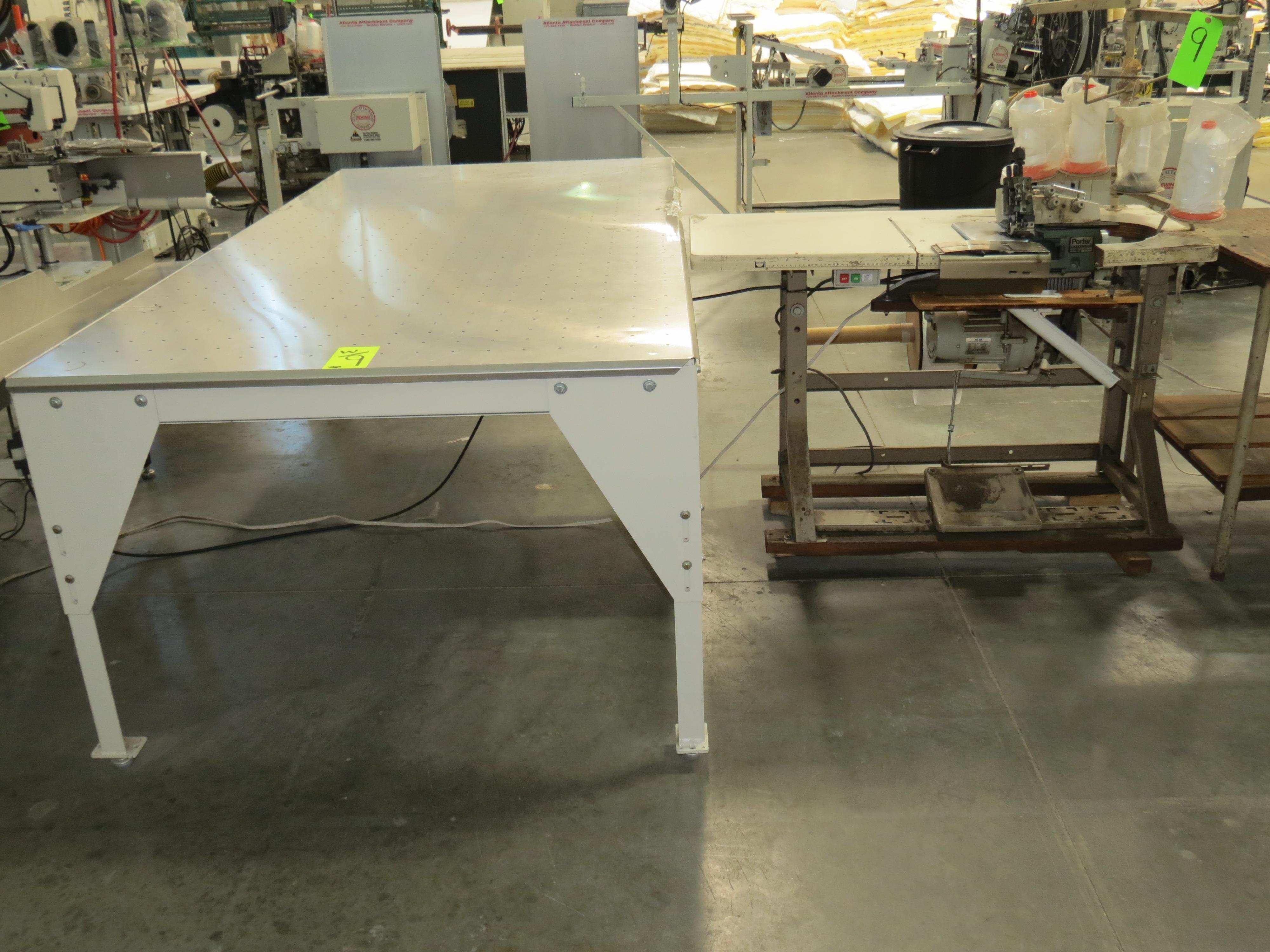 "Porter International PFM-1000 Flange Sewing Machine, with Floatation Table 95"" X 47"" 220V, SN:9434"