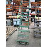 Green 8-Step Mobile Warehouse Ladder