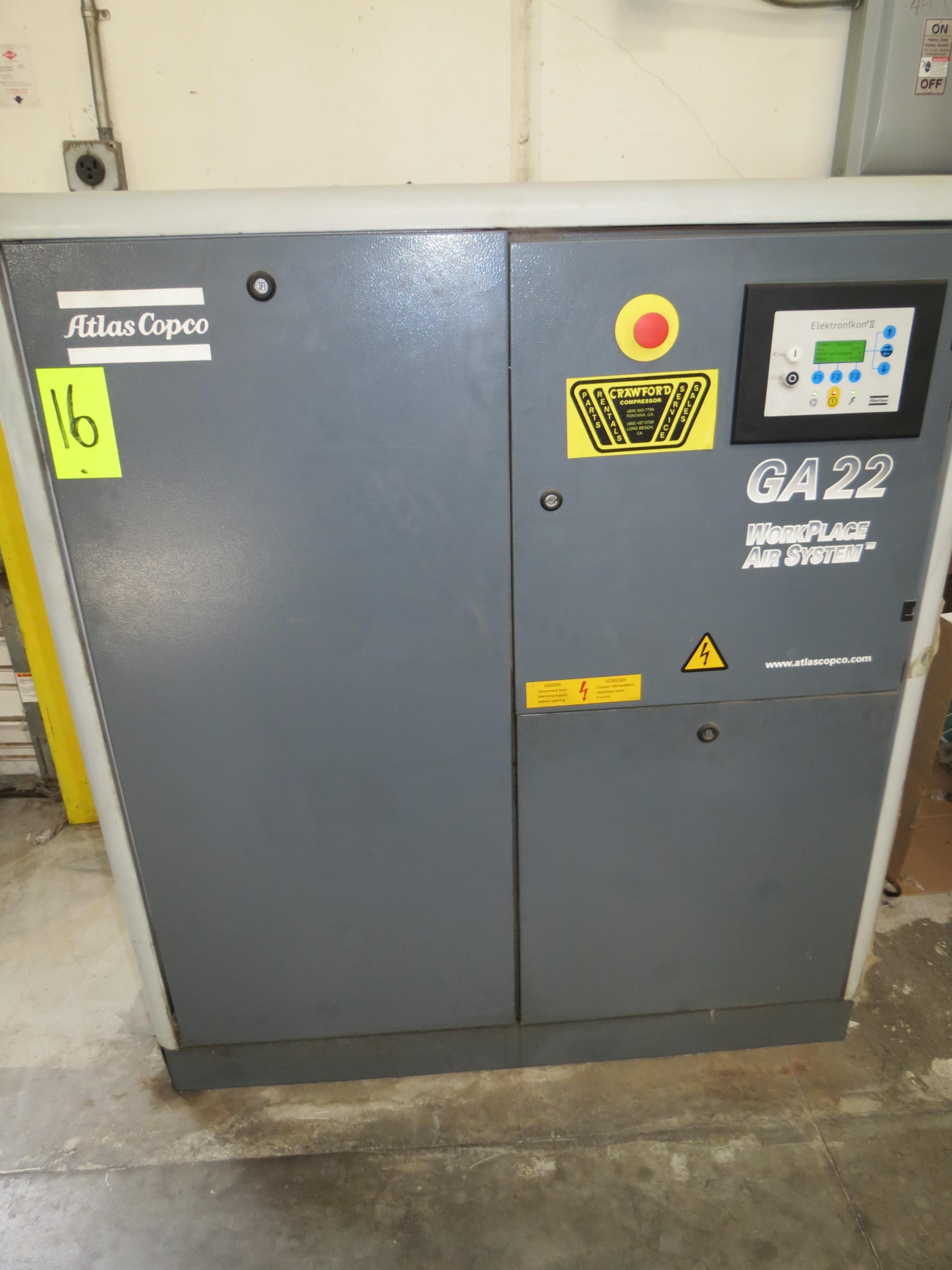 Atlas Copo GA22, 30HP,Main Air Compressor, 480V, SN:API292017