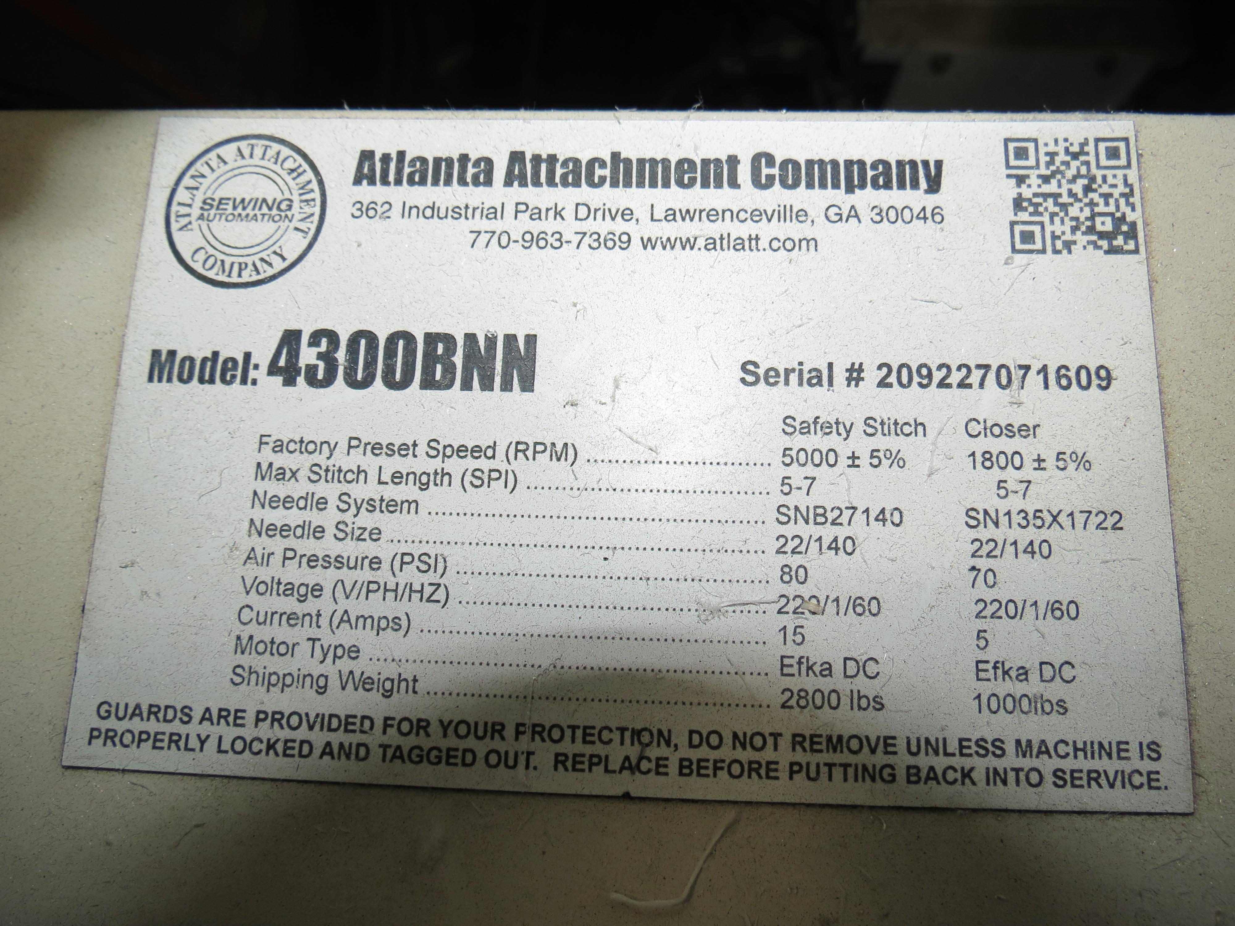 Atlanta Attachment Company, 4300BBorder/Attach Handles Sewing Machine, 220V, SN:209227071609, Juki - Image 11 of 11