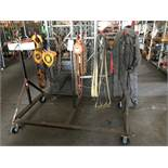 LOT - MOBILE RACK W/ ASSORTED LIFTING EQUIPMENT, CHAIN HOISTS, SPREADER BARS, STRAPS