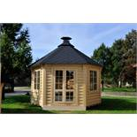 + VAT Brand New 14.9m sq 8 Corner Spruce Pavilion - Inside Grill with Cooking Platforms and Table