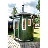 + VAT Brand New Vertical Sauna Made From Spruce Wood - Oval Shaped Sauna - Roof Covered With