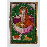 DIE GOTTHEIT SHIVA AUF LOTUS Miniaturmalerei auf Papier. Nordwest-Indien, Kaschmir, 19. Jh.Die