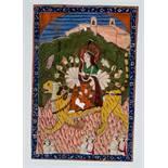 DIE GÖTTIN DURGA AUF TIGER Miniaturmalerei auf Papier. Nordwest-Indien, Kaschmir, 19. Jh.Eine