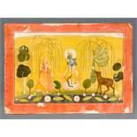 FLÖTESPIELENDER KRISHNA UND RADHA Miniatur-Malerei mit Farben und etwas Gold. Indien, Kotah-Stil,