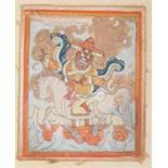 THANGKA-MINIATUR MIT VAJRASADHU Farben auf Gewebe. Tibet, 19. bis frühes 20. Jh.Vajrasadhu,