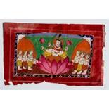 DIE GÖTTIN PARVATI AUF LOTUS Miniaturmalerei mit Farben und Gold auf Papier. Nordwest-Indien,