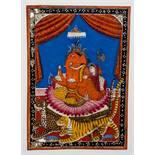 DER ELEFANTENKÖPFIGE GANESHA Miniaturmalerei mit Farben und Gold auf Papier. Nordwest-Indien,