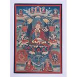 DER TANTRISCHE MEISTER PADMASAMBHAVA Thangka-Malerei auf Gewebe. Indotibetisch, 20. Jh.Im Zentrum