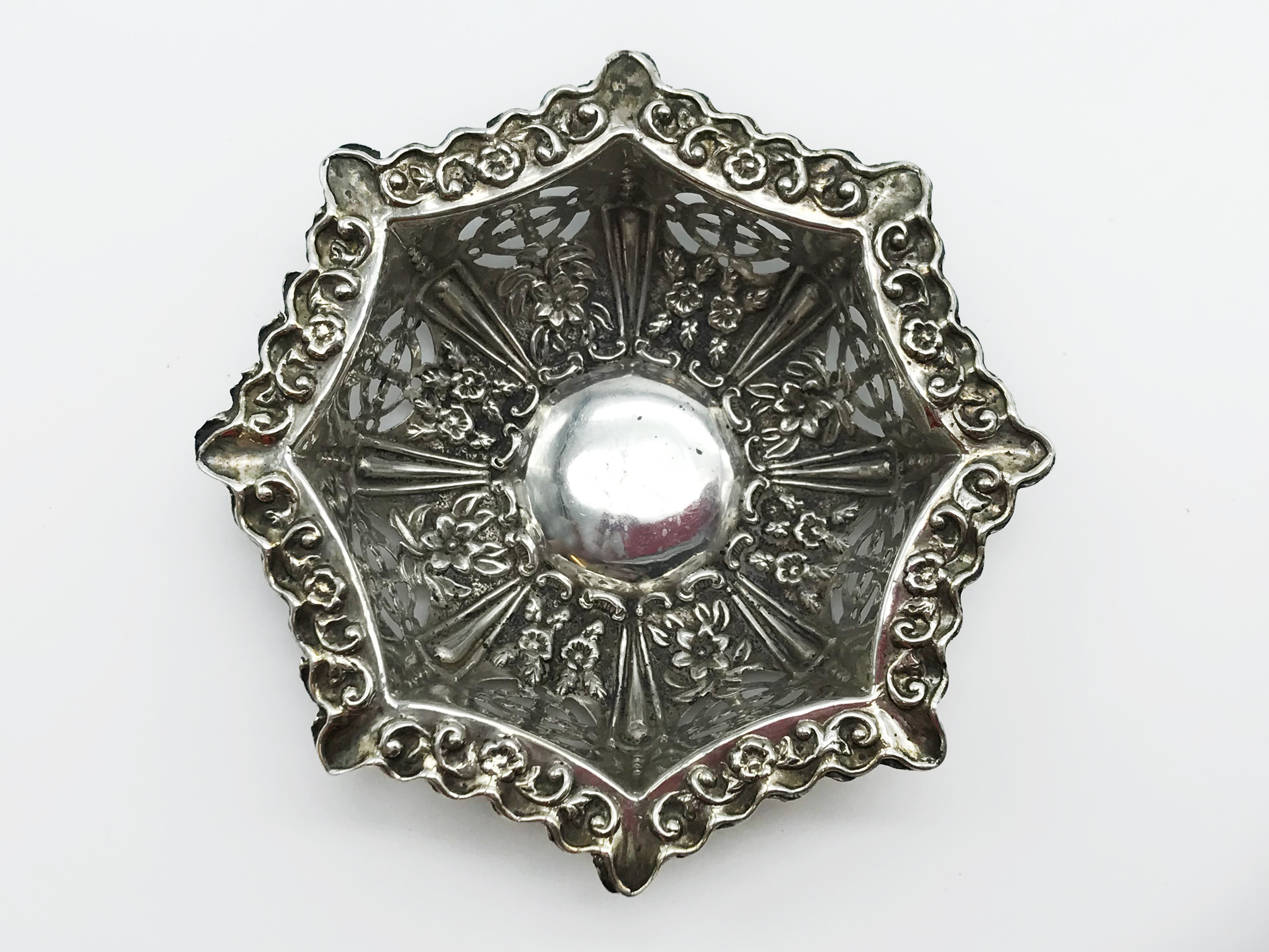 Lot 2 - PAIR OF HALLMARKED SILVER PIERCED DISHES