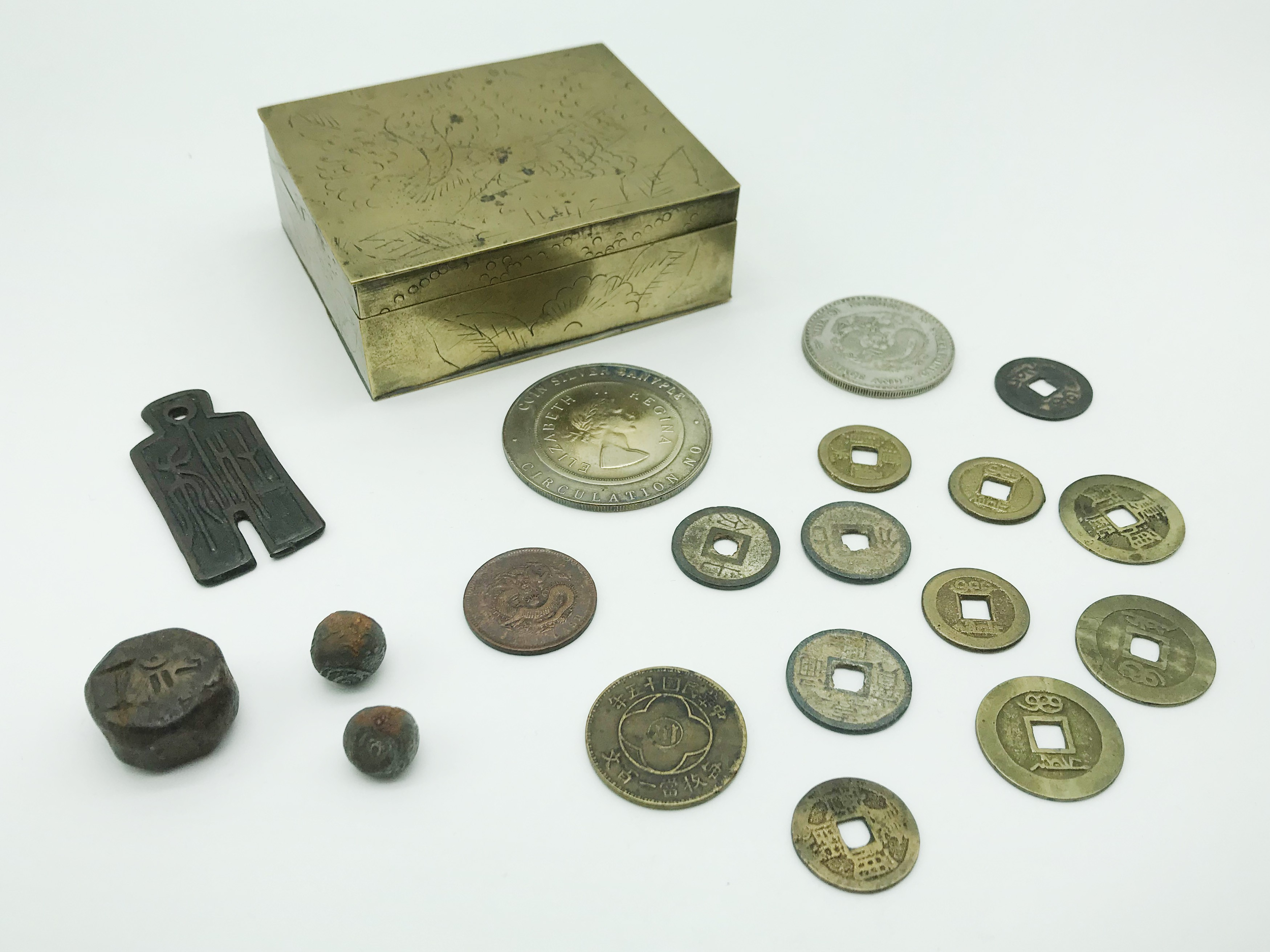 Lot 49 - CHINESE BRASS BOX AND CHINESE SOUVENIR COINS