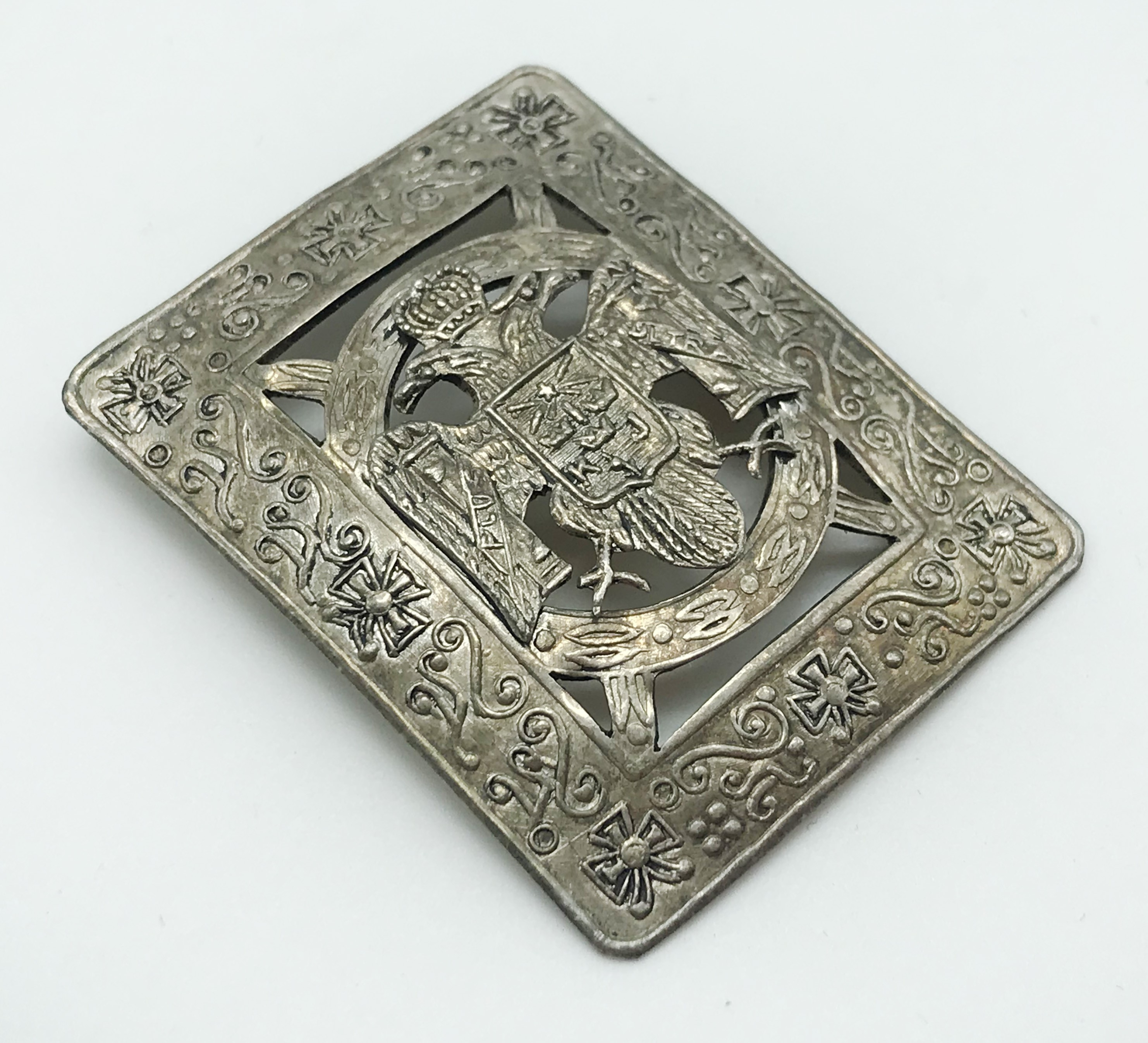 Lot 24 - SQUARE SHAPED DOUBLE HEADED EAGLE SILVER BROOCH