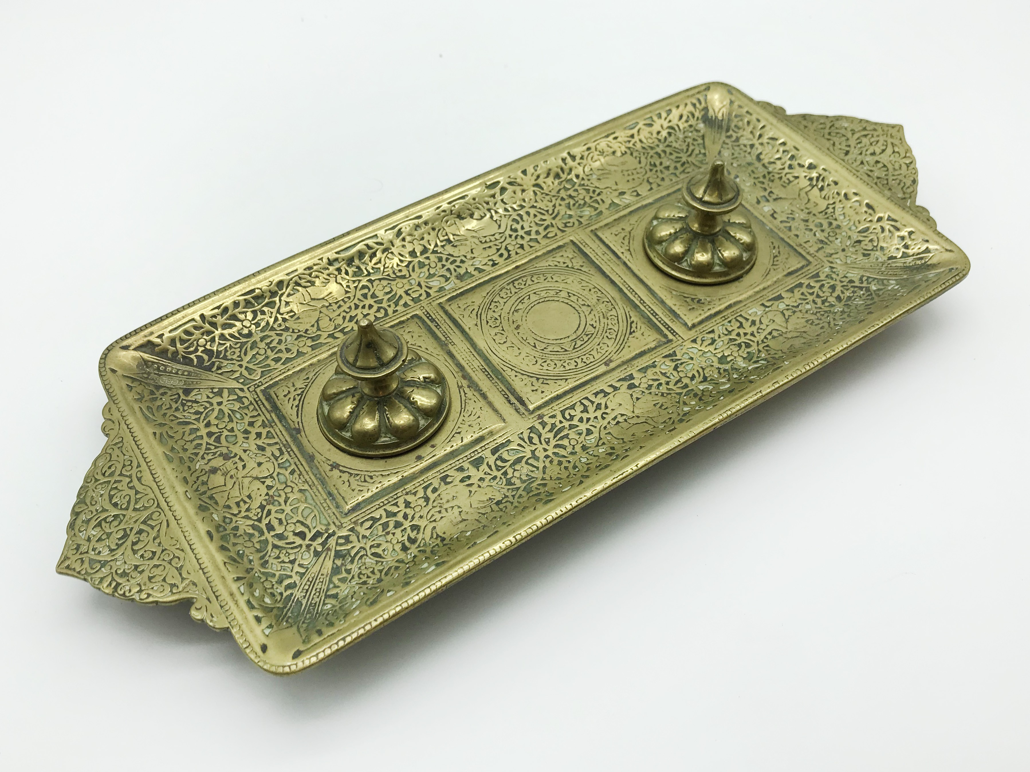 Lot 54 - LARGE HEAVY SOLID BRASS MIDDLE EASTERN INKWELL