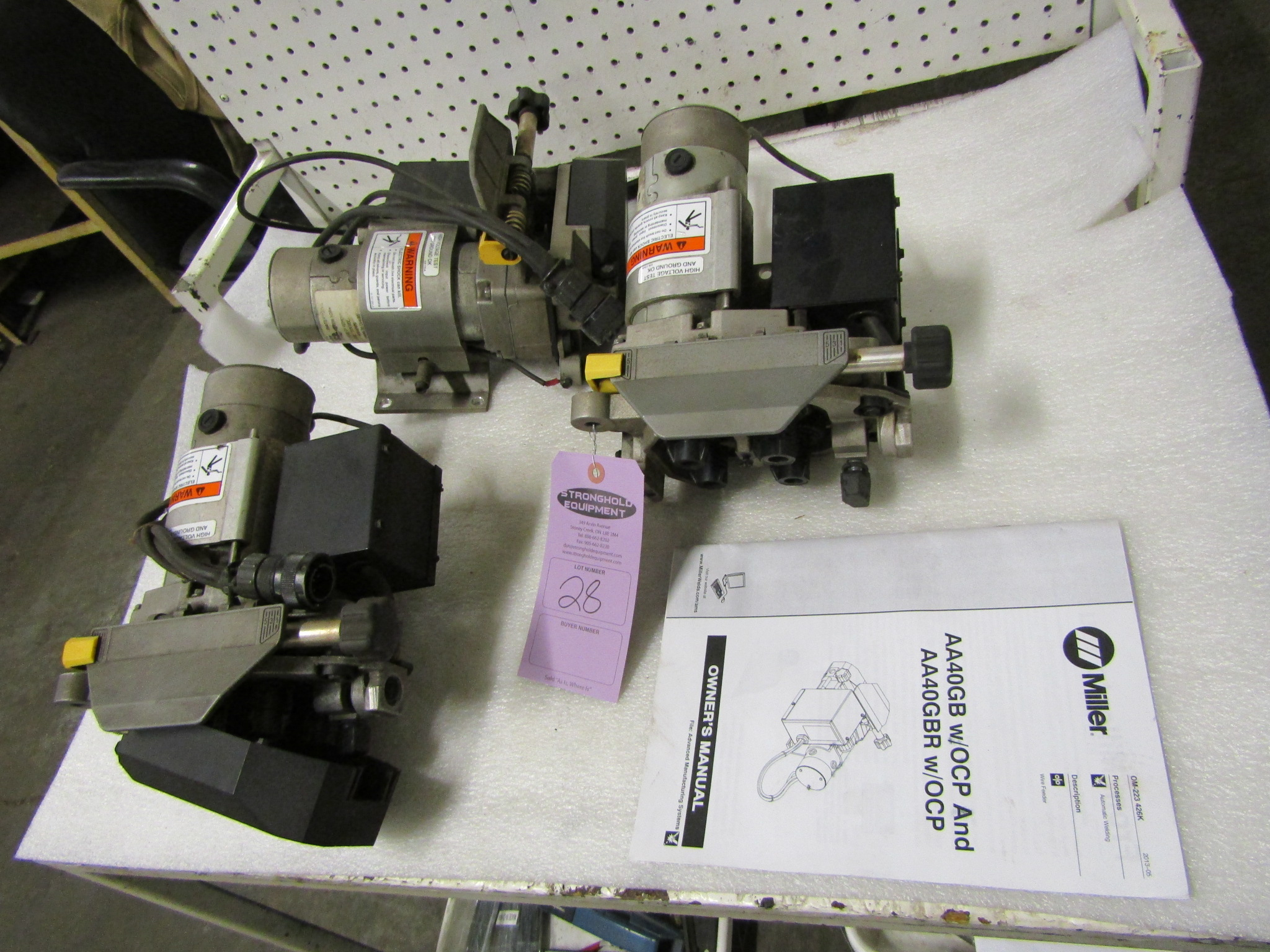 Lot of 3 Miller Robotic Welding wire feeders - 4-wheel units with manual