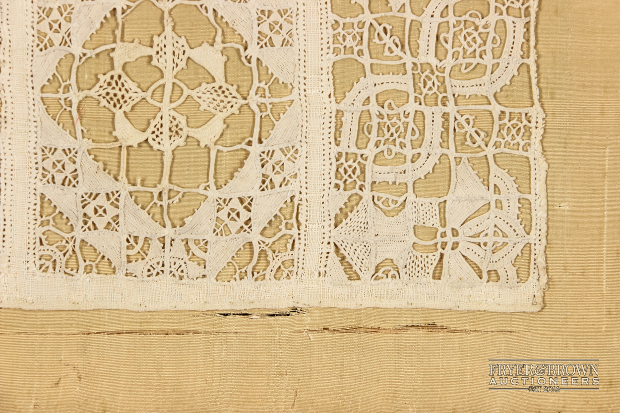 Lot 246 - A rare reticella and hollie point needlelace sampler, 16th/17th century worked with a male and