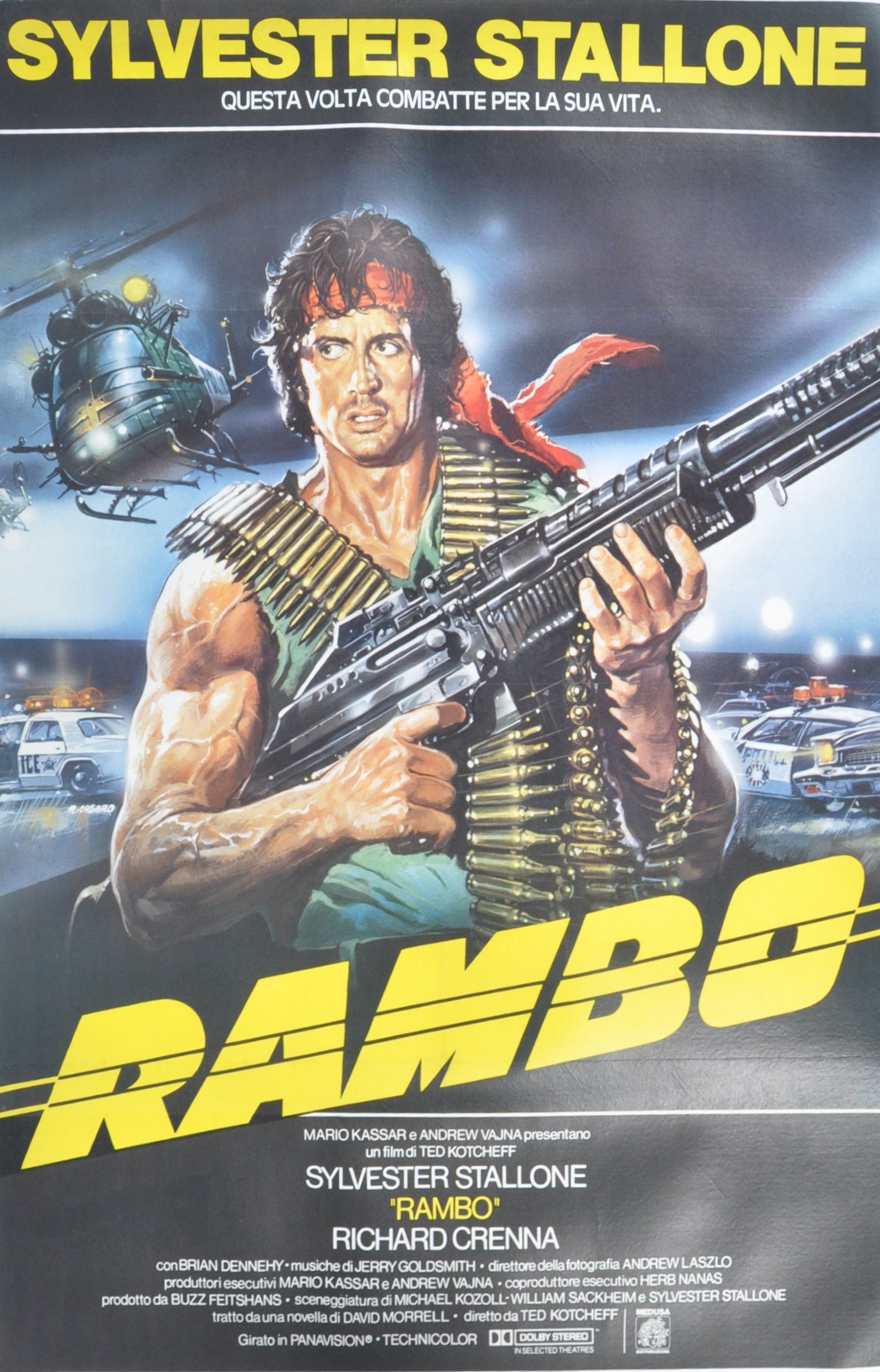 ORIGINAL 1980'S RAMBO FIRST BLOOD ITALIAN MOVIE PO