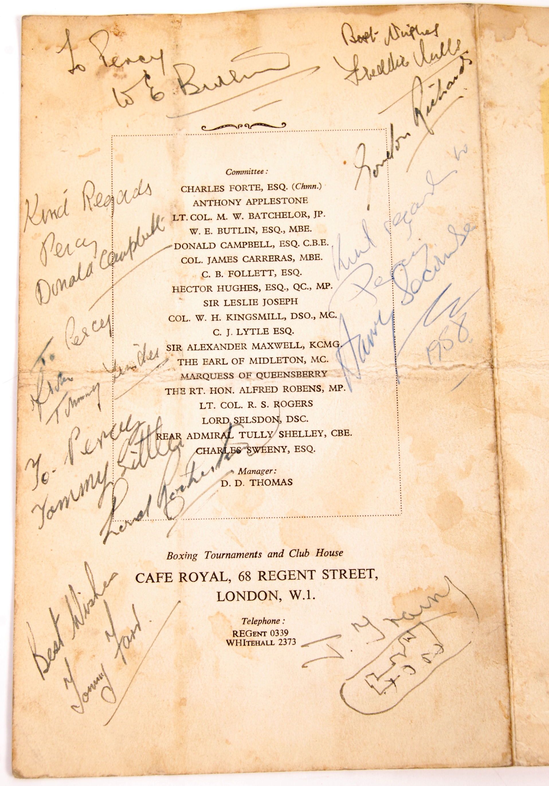 Lot 84 - RARE 1950'S BOXING PROGRAMME AUTOGRAPHED BY THOSE