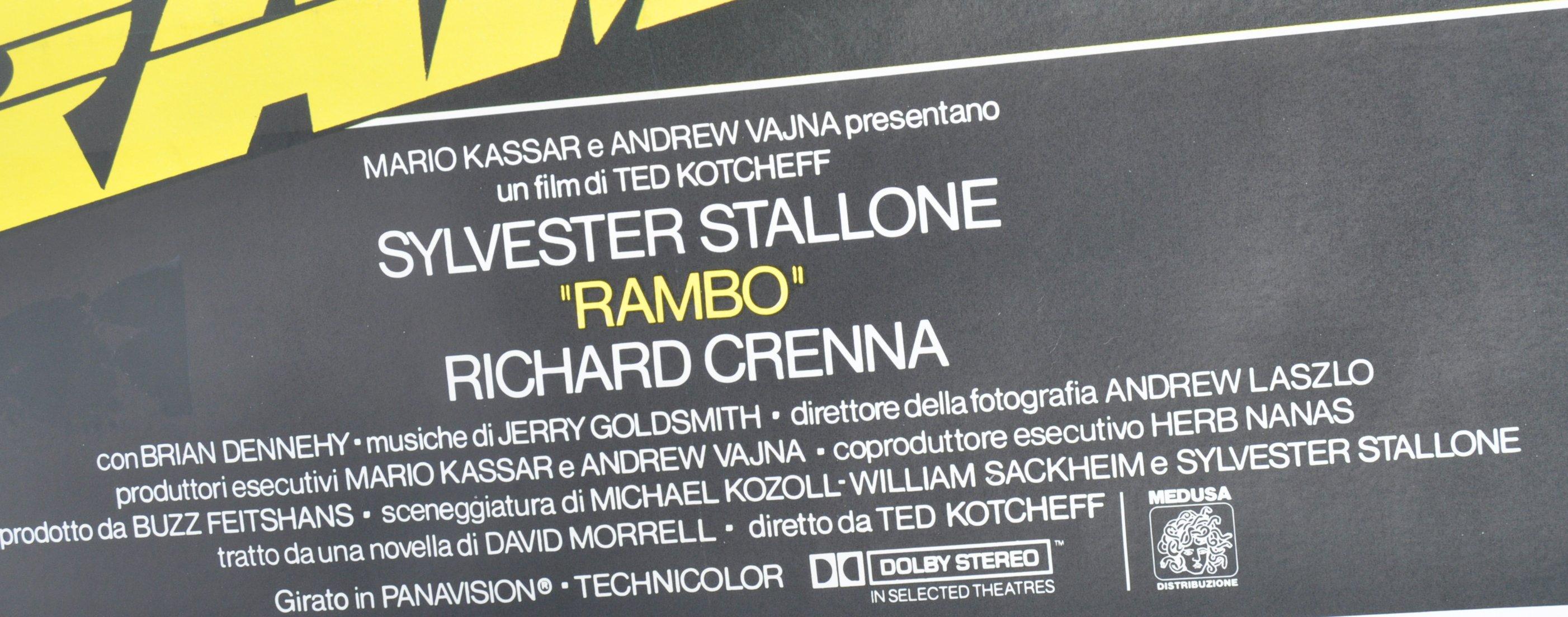 ORIGINAL 1980'S RAMBO FIRST BLOOD ITALIAN MOVIE PO - Image 3 of 5