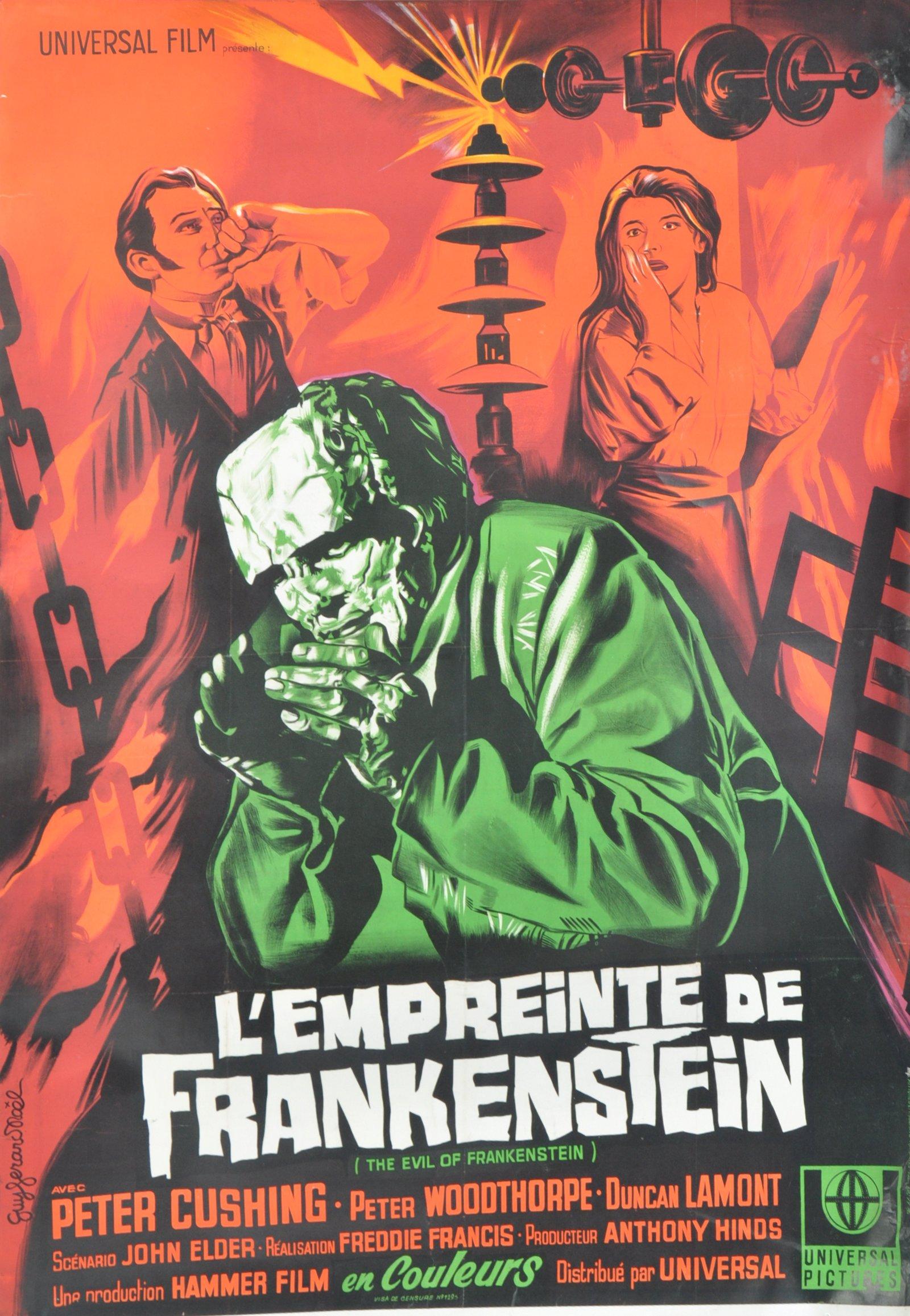 1960'S EVIL OF FRANKENSTEIN FRENCH MOVIE POSTER