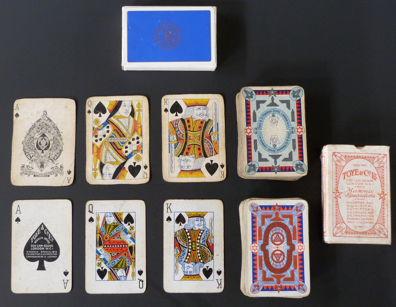 Lot 150 - Three single packs of English playing cards with Masonic back designs