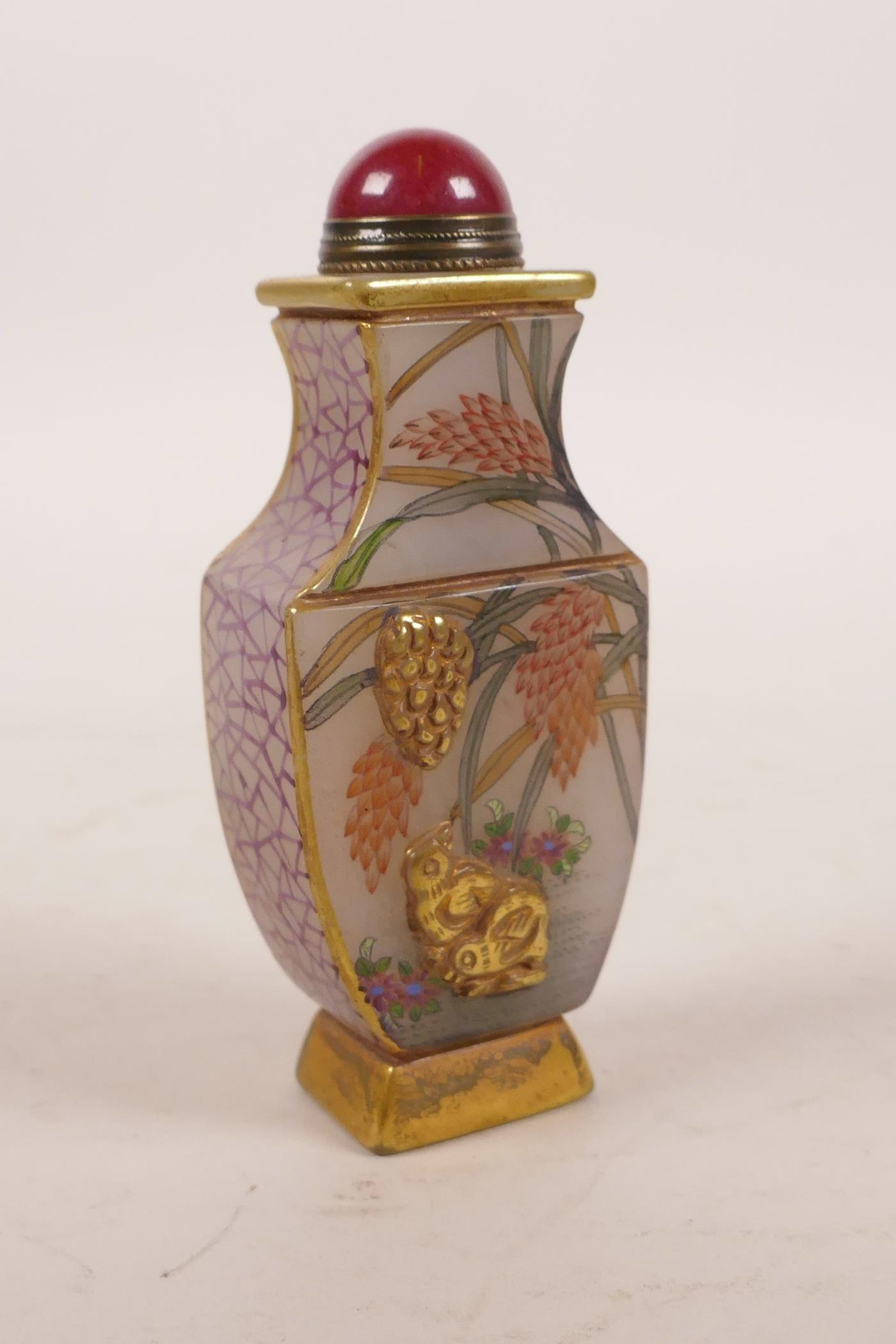 Lot 8 - A Chinese glass snuff bottle with enamelled and gilt decoration of birds and flowers, 6 character
