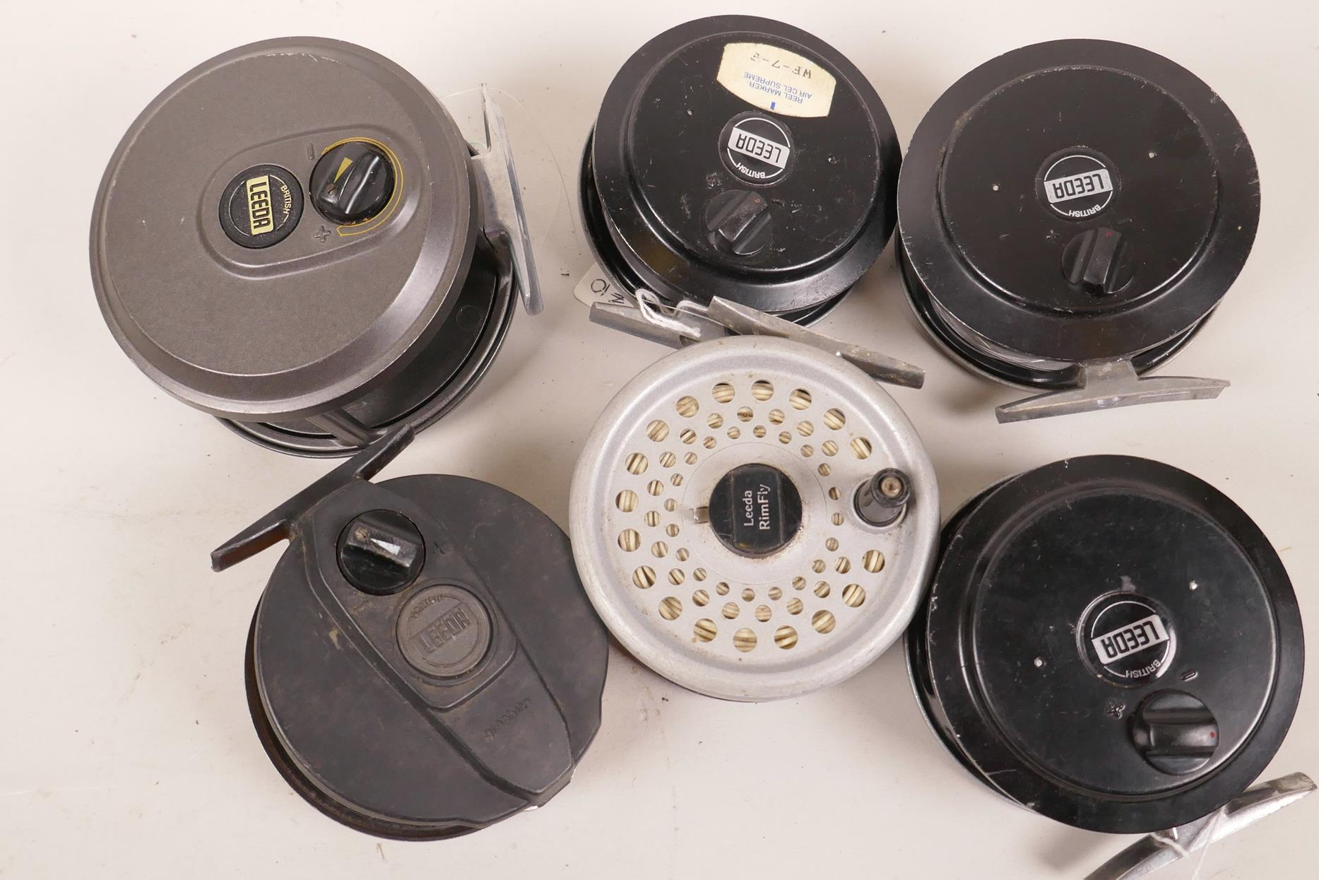 "Lot 32 - Six various Leeda fly fishing reels including a Magnum 200, 4"" diameter"