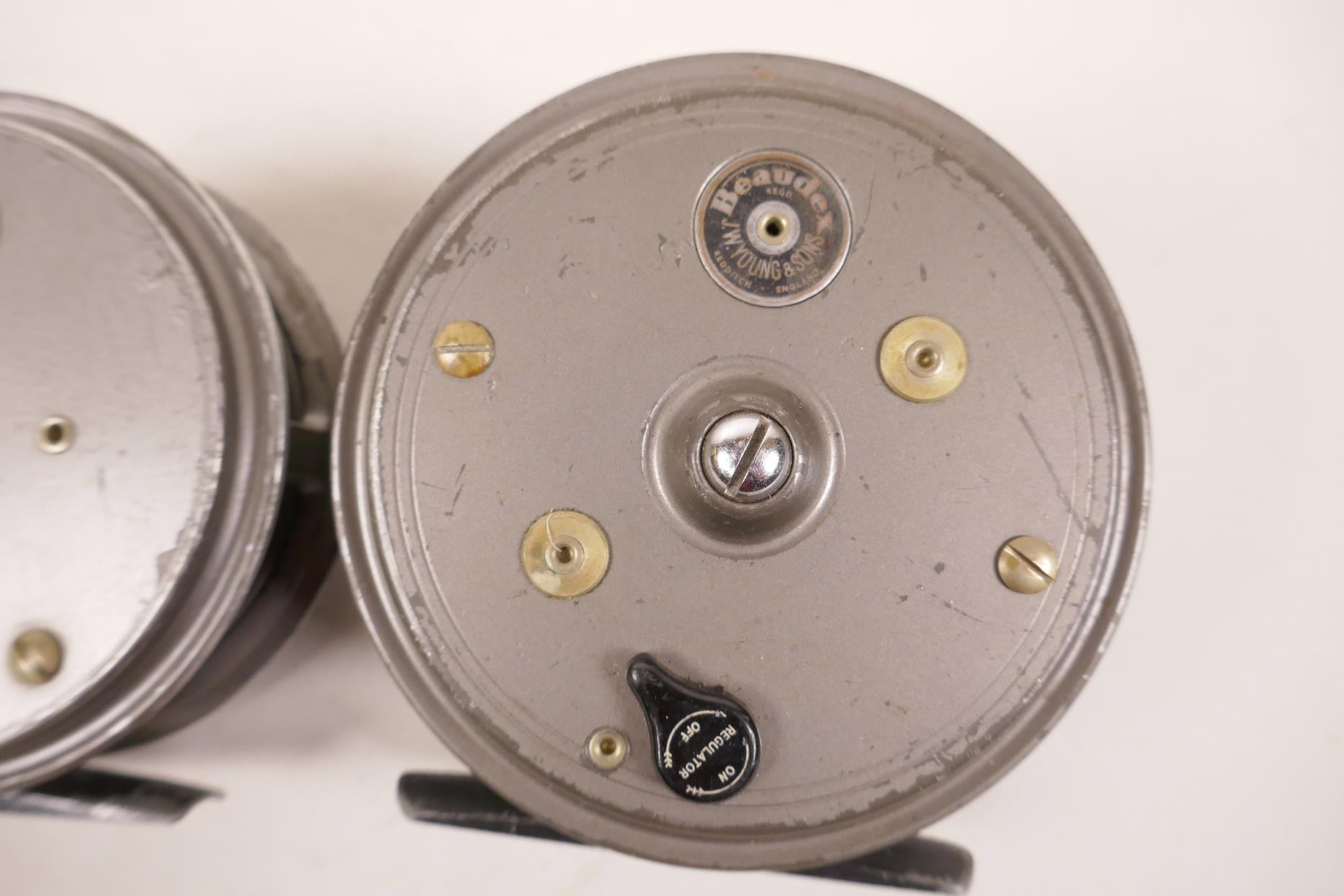 """Lot 7 - Two J.W. Young & Sons salmon fishing reels, a Beaudex and Pridex (Beaudex 3¾"""" diameter)"""