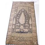An Indian gilt thread embroidered wall hanging with rosettes, elephants and tiger decoration, A/F