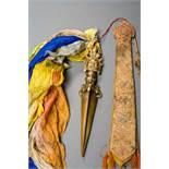 GEISTERDOLCH VAJRAKILA Gelbe Bronze. Tibet, 18. / 19. Jh. Ein künstlerisch und handwerklich