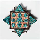 GAU (AMULETT) Silber, Vergoldung, Türkise. Tibet, 19. Jh. Sehr wirkungsvoll gestalteter Gau mit