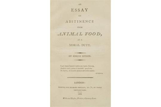 Ritson Joseph A Essay On Abstinence From Animal Food As A Moral  Auction Date